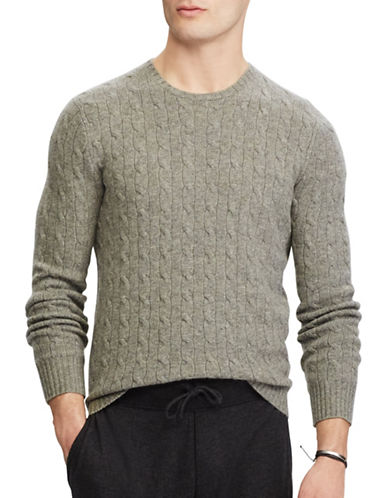 Polo Ralph Lauren Cable-Knit Cashmere Sweater-FAWN GREY-Small