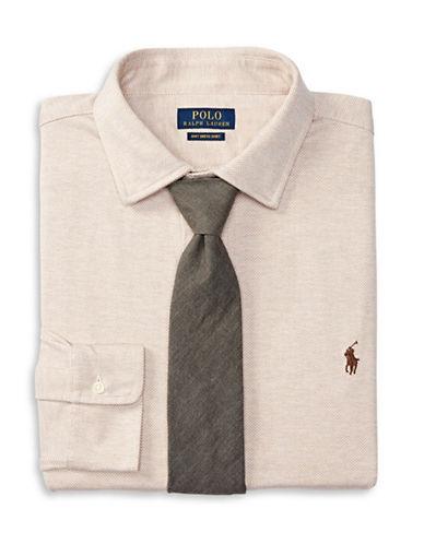 Polo Ralph Lauren Big and Tall Herringbone Knit Dress Shirt-MOCHA HEAT-5X Big