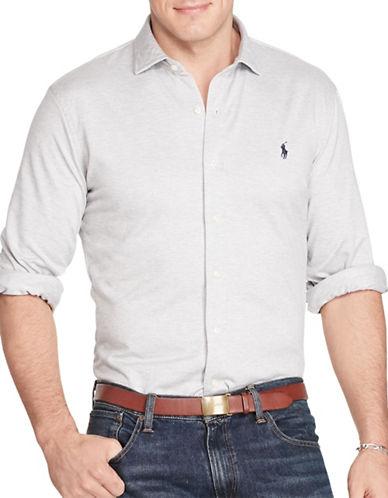 Polo Ralph Lauren Big and Tall Herringbone Knit Dress Shirt-ANDOVER HEATHER-5X Tall