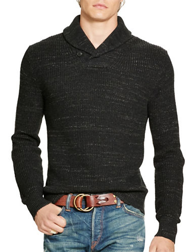 Polo Ralph Lauren Cotton Shawl-Collar Sweater-BLACK HEATHER-Large 88525303_BLACK HEATHER_Large