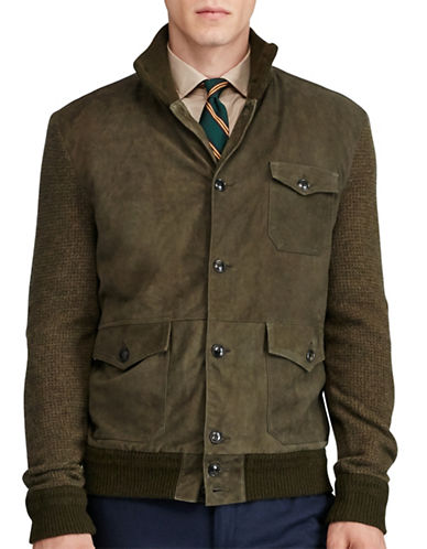 Polo Ralph Lauren Suede-Panel Cardigan-OLIVE-Large