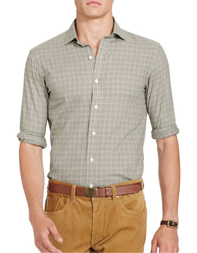 Polo Ralph Lauren Glen Plaid Twill Estate Shirt-OLIVE/CREAM-XX-Large