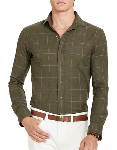 Polo Ralph Lauren Plaid Flannel Estate Shirt-OLIVE/LAVENDER-XX-Large