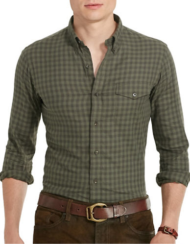 Polo Ralph Lauren Checked Twill Sport Shirt-SAGE/BROWN-XX-Large