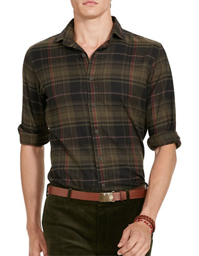 Polo Ralph Lauren Plaid Twill Sport Shirt-OLIVE/VIOLET-X-Large