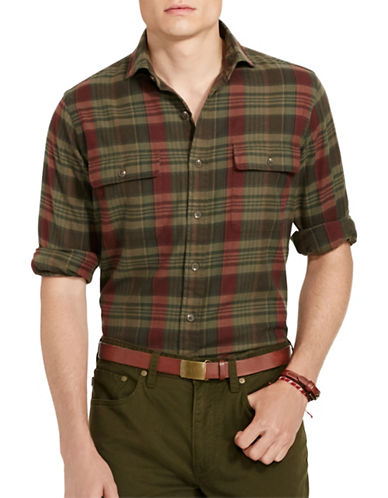 Polo Ralph Lauren Plaid Twill Sport Shirt-TAUPE/WINE-XX-Large