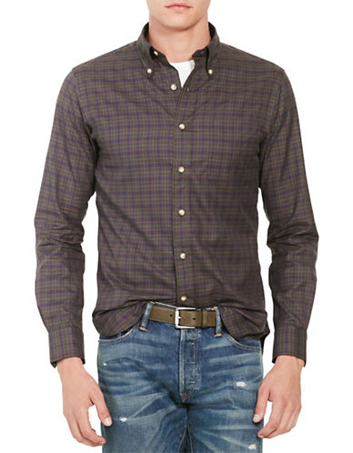 Polo Ralph Lauren Slim-Fit Plaid Twill Shirt-OLIVE/NAVY-XX-Large