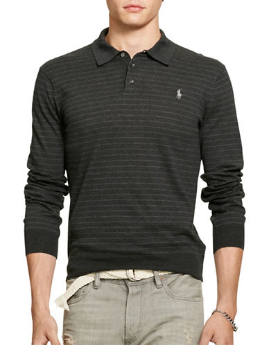 Polo Ralph Lauren Collared Pima Cotton Sweater-CHARCOAL-XX-Large