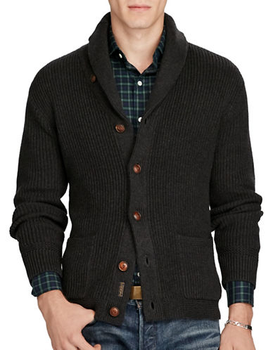 Polo Ralph Lauren Cotton Shawl-Collar Cardigan-MID GREY HEATHER-Large 88526842_MID GREY HEATHER_Large