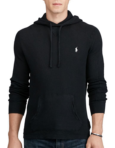 Polo Ralph Lauren Waffle-Knit Cotton Hoodie-POLO BLACK-X-Large
