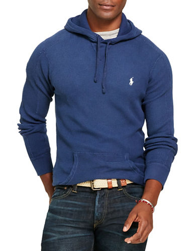 Polo Ralph Lauren Waffle-Knit Cotton Hoodie-RUSTIC NAVY-Large