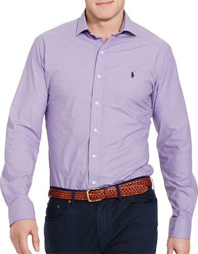 Polo Ralph Lauren Checked Poplin Sport Shirt-PURPLE/WHITE-5X Tall