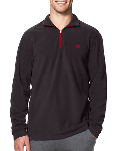Chaps Mock Neck Fleece Pullover-BLACK-Large 88690233_BLACK_Large