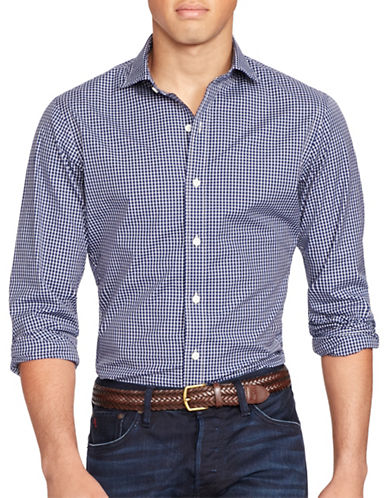 Polo Ralph Lauren Slim-Fit Checked Stretch-Poplin Estate Shirt-MIDNIGHT BLUE-X-Large