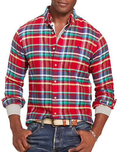 Polo Ralph Lauren Plaid Twill Shirt-RED/EMERALD-Small