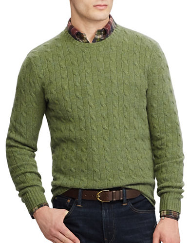 Polo Ralph Lauren Cable-Knit Cashmere Sweater-GREEN-Medium