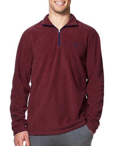 Chaps Big and Tall Mock Neck Fleece Pullover-DARK PURPLE-3X Tall