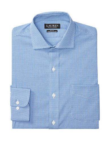 Lauren Green Slim-Fit Checked Estate Dress Shirt-ROYAL/WHITE-17-34/35