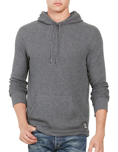 Polo Ralph Lauren Waffle-Knit Pima Hoodie-GREY HEATHER-XX-Large