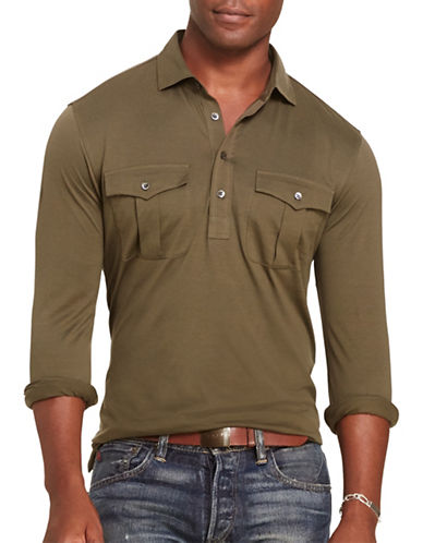 Polo Ralph Lauren Cotton Military Popover Shirt-DEFENDER GREEN-XX-Large