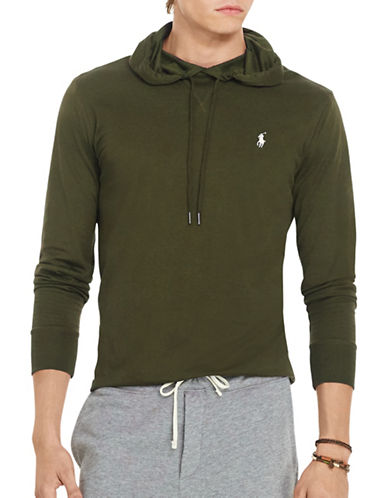 Polo Ralph Lauren Featherweight Pima Drawstring Hoodie-DEFENDER GREEN-X-Large