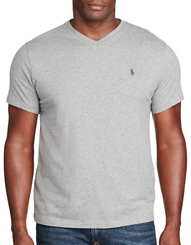 Polo Ralph Lauren Cotton Jersey V-Neck T-Shirt-SPEEDWAY GREY-5X Big 88697938_SPEEDWAY GREY_5X Big