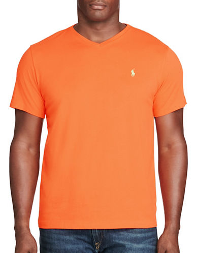 Polo Ralph Lauren Cotton Jersey V-Neck T-Shirt-ORANGE-5X Big