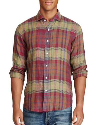 Polo Ralph Lauren Plaid Linen Sport Shirt-GREEN/PURPLE-XX-Large