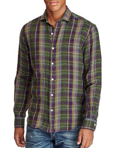 Polo Ralph Lauren Plaid Linen Sport Shirt-OLIVE/PURPLE-XX-Large