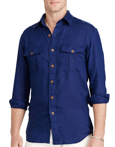 Polo Ralph Lauren Linen Utility Shirt-NAVY-Medium