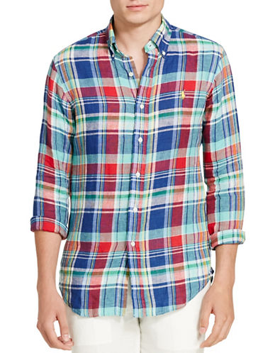 Polo Ralph Lauren Plaid Linen Sport Shirt-BLUE/ RED-X-Large 88697458_BLUE/ RED_X-Large