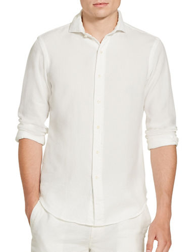 Polo Ralph Lauren Cotton Pique Sport Shirt-WHITE-Large