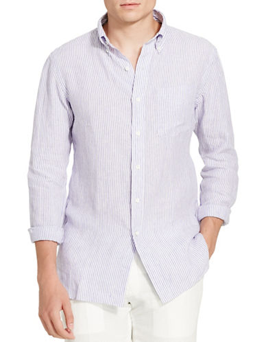 Polo Ralph Lauren Bengal-Striped Linen Shirt-VIOLET/WHITE-Small