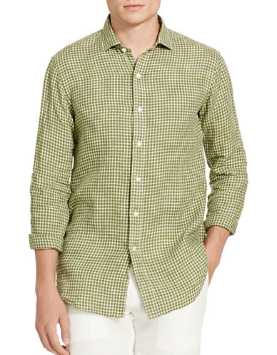 Polo Ralph Lauren Checked Linen Sport Shirt-GREEN/WHITE-Medium