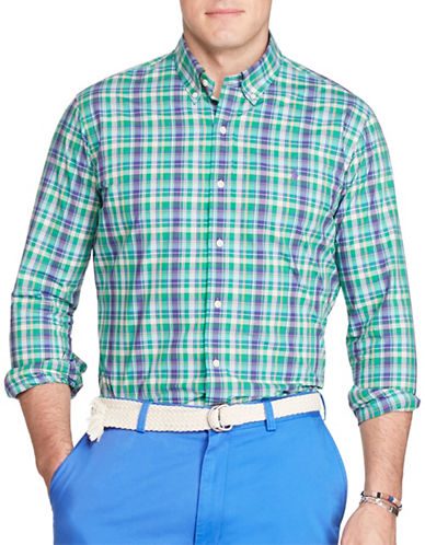 Polo Ralph Lauren Checked Cotton Poplin Shirt-GREEN/ORANGE-2X Tall