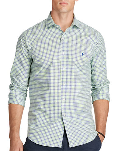 Polo Ralph Lauren Plaid Cotton Poplin Shirt-NAVY/LIME-5X Tall
