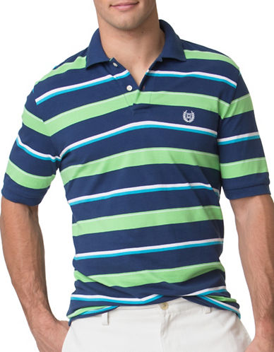 Chaps Striped Pique Polo-BLUE-4X Big