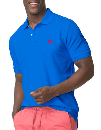 Chaps Pique Polo-BLUE-Medium