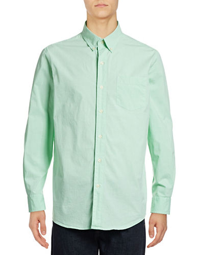 Chaps Gingham Regular-Fit Stretch-Poplin Sport Shirt-GREEN-X-Large