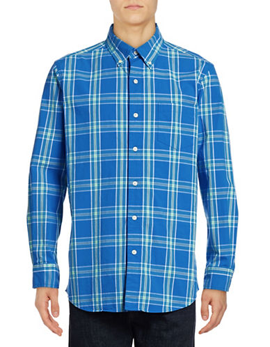 Chaps Plaid Regular-Fit Stretch-Poplin Sport Shirt-BLUE-Medium