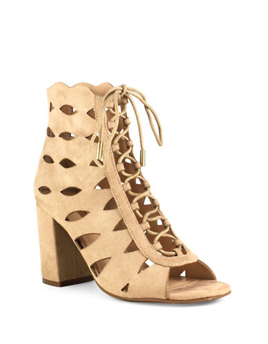 Guess Caged Suede Sandals-BROWN-7.5
