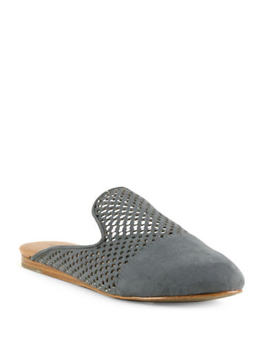 Indigo Rd Finch Cut-Out Faux Suede Slip-On Sandals-GREY-9.5