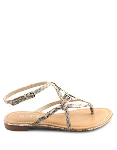 Guess Faux Leather Thong Sandals-BROWN-7.5