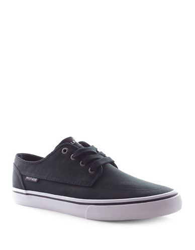 Tommy Hilfiger Payton-A Canvas Lace-Up Sneakers-BLACK-9.5