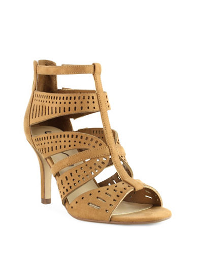 Unisa Jiilsin Geometric Perforated High Heel Sandals-BROWN-7