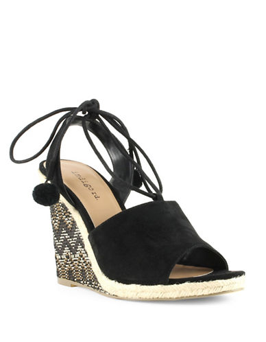 Indigo Rd Harpy Faux Suede Embellished Wedge Sandals-BLACK-6