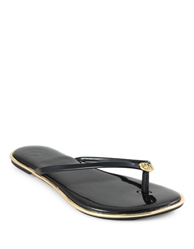 Guess Beema Faux Leather Flipflops-BLACK-6.5
