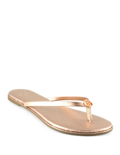 Guess Beema Faux Leather Flipflops-GOLD-7.5
