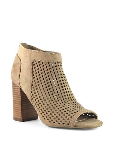 Guess Daevon Perforated Suede Booties-TAUPE-8.5