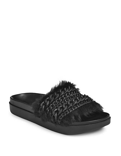 Kendall + Kylie Faux-Fur Slide Sandals-BLACK-8.5